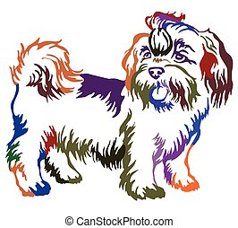 Colorful decorative standing portrait of dog shih-tzu,...