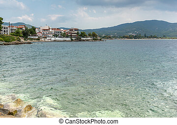 Panoramic view of town of Neos Marmaras at Sithonia...