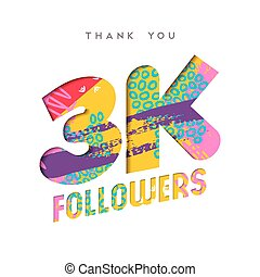 3k social media follower number thank you template - 3000...