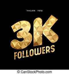 3k gold internet follower number thank you card - 3000...