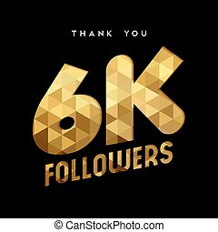 6k gold internet follower number thank you card - 6000...