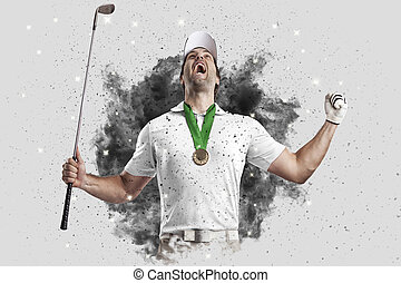Golf Player coming out of a blast of smoke - Golf Player...