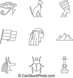 Cairo travel icons set, outline style