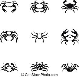 Crab icons set, simple style - Crab icons set. Simple set of...