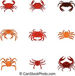 Crab icons set, cartoon style - Crab icons set. Cartoon set...
