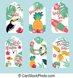 Tropical Hawaiian tags with toucan, flamingo, parrots and pineapple