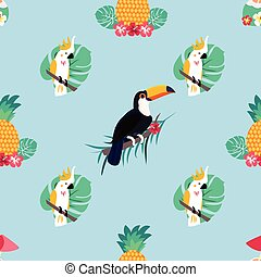 Seamless tropical pattern with parrots, pineapples and toucan