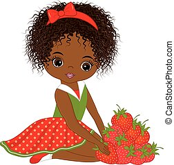 Vector Cute Little African American Girl with Strawberries