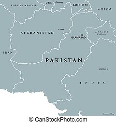 Pakistan political map with capital Islamabad and borders....
