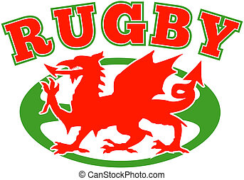 red welsh wales dragon rugby ball - illustration of a red...