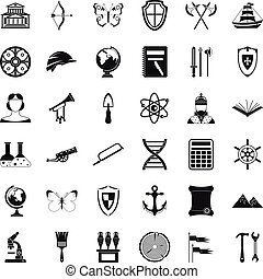 Ancient thing icons set, simple style