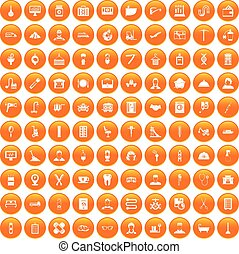 100 craft icons set orange - 100 craft icons set in orange...