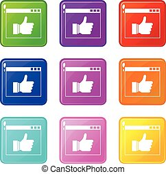 Hand with thumb up in browser set 9
