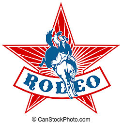 Rodeo Cowboy riding bucking bronco - retro style...
