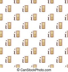 Man with a folder at the door pattern