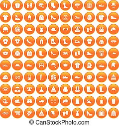 100 clothing and accessories icons set orange - 100 clothing...