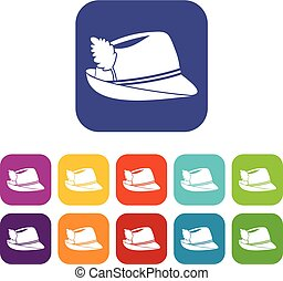 Irish hat icons set vector illustration in flat style in...