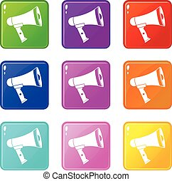 Mouthpiece set 9 - Mouthpiece icons of 9 color set isolated...