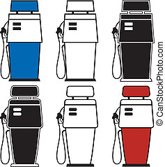 Gas Pumps - Two different gas pumps with color variations