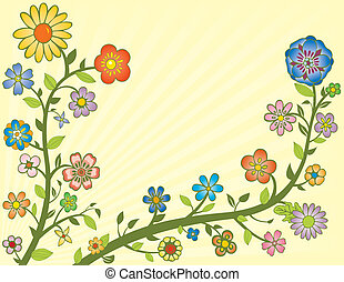 Colorful Flowers on Vines