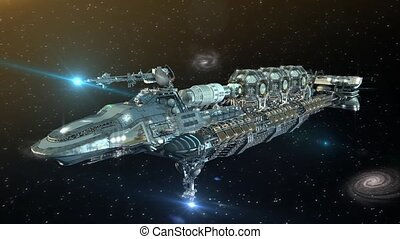 3D Futuristic military spacecraft in deep space - 3D...