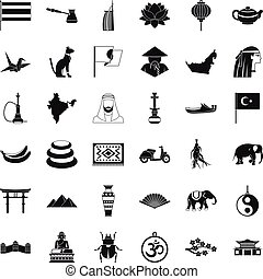 Asian travel icons set, simple style