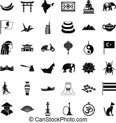 Asian trip icons set, simple style