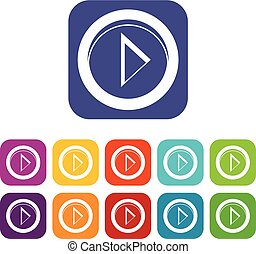 Cursor to right in circle icons set vector illustration in...