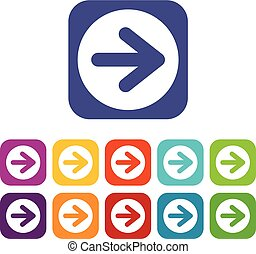 Arrow in circle icons set vector illustration in flat style...