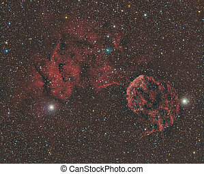 Jellyfish Nebula - imaged with a telescope and a scientific...