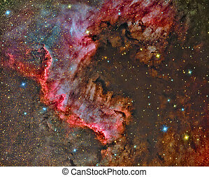 North America Nebula - imaged with a telescope and a...