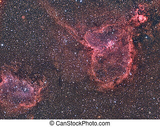 Heart and Soul Nebula - imaged with a telescope and a...