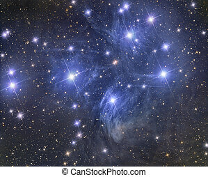 Pleiades Star Cluster - imaged with a telescope and a...