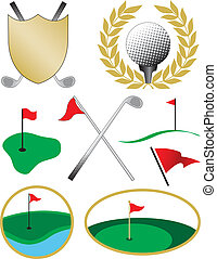 Eight Color Golf Icons including a golf ball, shield, clubs...