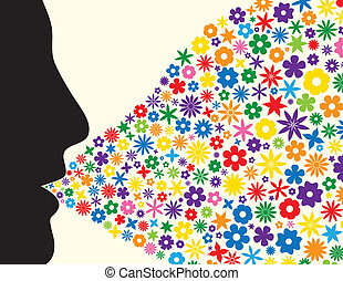 Face silhouette blowing flowers