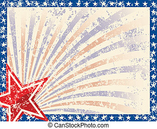 Patriotic Frame with Stars and Grunge. Grunge grouped for...