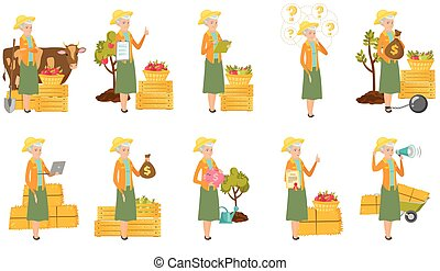 Senior caucasian farmer vector illustrations set. - Senior...
