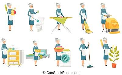 Senior caucasian cleaner vector illustrations set.