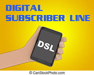 DSL - Digital Subscriber Line concept - 3D illustration of...