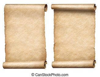 old paper scrolls or parchments 3d illustration set - two...