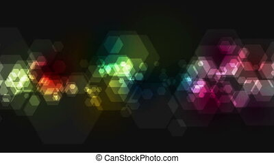 Colorful geometric hexagons tech video animation - Colorful...