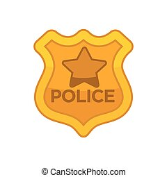 Police officer button - Vector illustration of police...