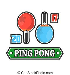 Ping Pong rackets and score - Vector emblem of ping pong...