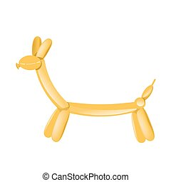 Yellow animal balloon figurine - Vector illustration of...