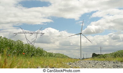 Wind Turbine Green Energy - Windmills Energy. Landscape with...