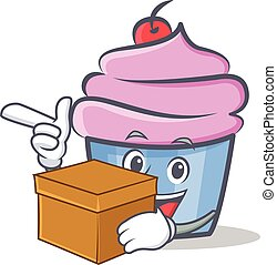 cupcake character cartoon style with box