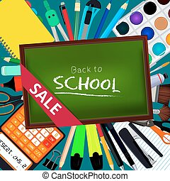 Back to school. Background illustrations with different office stationery tools and equipment for artists. Poster layout with place for your text
