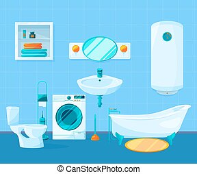 Modern clean interior of bathroom. Vector pictures in cartoon style