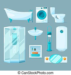 Bathroom interior furniture and different equipment. Vector illustrations in cartoon style