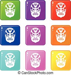 Tribal mask set 9 - Tribal mask icons of 9 color set...